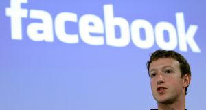 Facebook chief executive Mark Zuckerberg. Photograph:  Robert Galbraith/Reuters