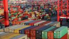 Containers  at the Yangshan Deep Water Port, part of the Shanghai Free Trade Zone, in Shanghai, China.