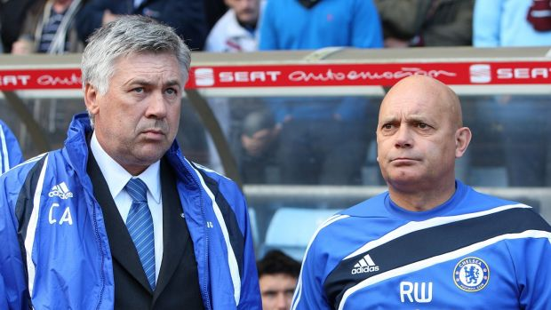 Ray Wilkins with Carlo Ancelotti during one of his spells as a coach at Chelsea. Photograph: Nick Potts/PA
