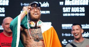 Conor McGregor during the weigh-In  last August in Las Vegas for the  Mayweather fight. Photograph: Derek Hogan/Inpho