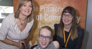 2018 Pramerica Spirit of Community Awards finalist Caoimhe Bennett, right, from Loreto Grammar School in Omagh, with Andrea McBride, vice-president of Pramerica Systems Ireland, and guest-of-honour Joanne O'Riordan