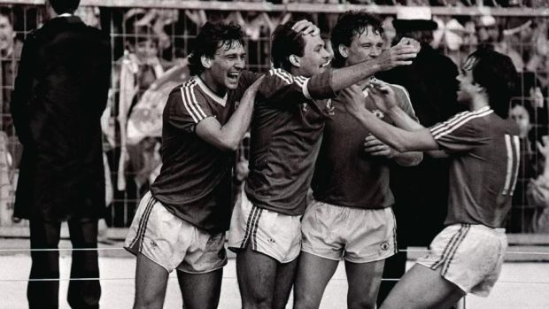 Bryan Robson (L) celebrates with Ray Wilkins after his goal in the 1983 FA Cup final against Brighton. Photograph: PA