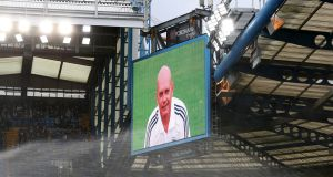 Ray Wilkins is shown on the big screen at Stamford Bridge ahead of Chelsea's game against Tottenham last weekend. Photograph: Catherine Ivill/Getty