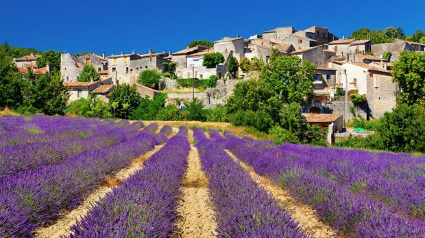 Lavender field with a small town in Provence Location: Cereste, Provence, France.
