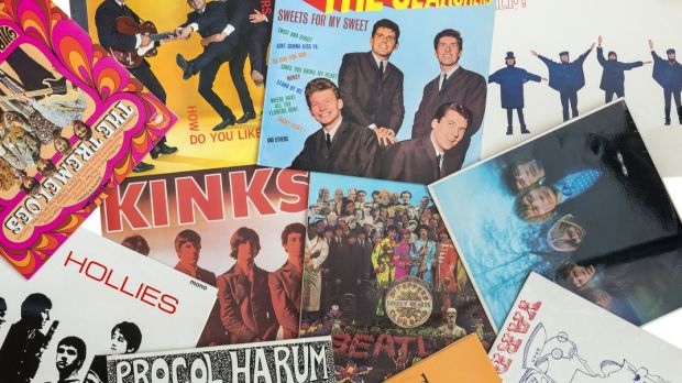 Selection of British musical pop/rock bands from the sixties. In this photo there are record covers artists who will be playing on the Blue Cruise.