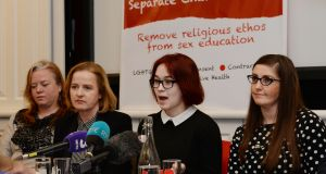 Cliona Saidlear Rape Crisis Network Ireland, Ruth Coppinger TD, school student Megan Brady and Cliona Loughnane of the National Women's Council of Ireland at a press conference to launch Solidarity's Objective Sexual Education Bill. Photograph: Alan Betson/The Irish Times