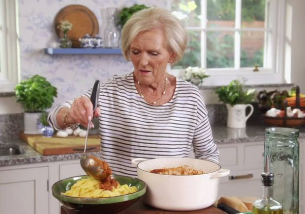 Mary Berry with her spaghetti bolognese made with cream. Photograph: BBC