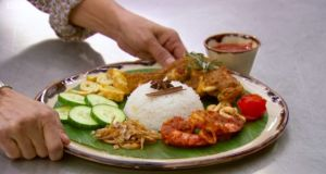 Zaleha Kadir Olpin's controversial Masterchef UK dish of traditional  nasi lemak, served with chicken rendang, which the judges said should have been 'crispy'. Photograph: BBC