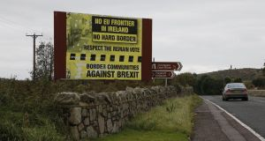 Border Communities against Brexit signage on the outskirts of Newry, Co Down. Photograph Nick Bradshaw