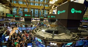 Trading hit: Spotify makes its debut on the New York Stock Exchange. Photograph: Michael Nagle/Bloomberg
