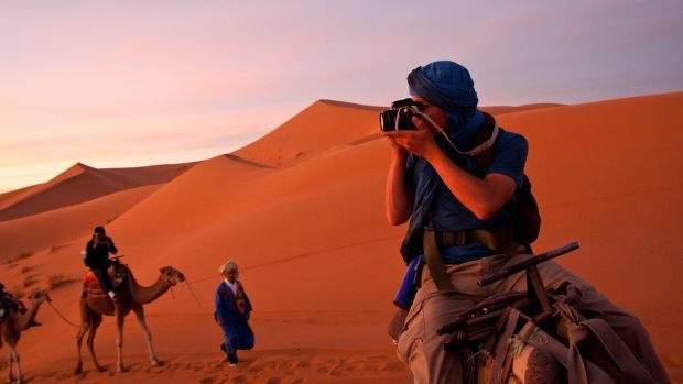 Henk van der Klok in the Sahara in 2011, where he travelled to a Berber camp 10km into the desert