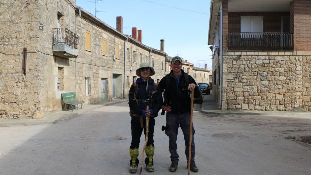 Henk van der Klok with a South Korean traveller on Camino de Santiago, a nearly 800km pilgrimage across the north of Spain