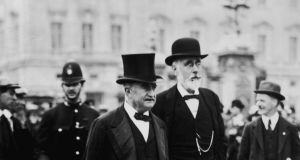 Leader of the Irish Parliamentary Party John Redmond (left) with John Dillon, who succeeded him as leader, circa 1910. Photograph: Hulton Archive/Getty Images