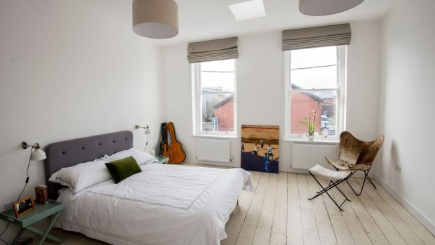 One of the two bedrooms in the former shop on York Road, Dún Laoghaire. Photograph: Brenda Fitzsimons