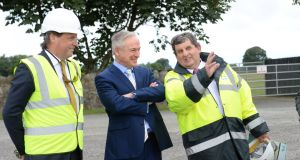 Miceál Sammon, chief executive of the Sammon Group, left, with Minister for Education  Richard Bruton and Sean Ashe, chief executive of Kildare / Wicklow Educational Training Board at Maynooth Education Campus and Maynooth Post-Primary School. Photograph: Dara Mac Dónaill