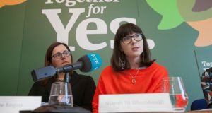 Niamh Ní Dhomhnaill (R) addresses Together for Yes's launch of its  position paper for the abortion referendum campaign, in Dublin. Photograph: Gareth Chaney/Collins