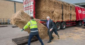 An emergency fodder delivery arrives from the UK to the Dairygold Co-Op in Ballymakeera, Co Cork. Photograph: Daragh McSweeney/Provision