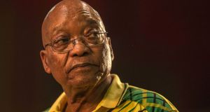 Former South African president Jacob Zuma faces 16 charges of corruption. Photograph:  AFP