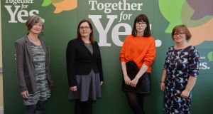 Margaret Martin,  Maeve Eogan, Niamh Ni Dhomhnaill and Orla O'Connor at the publication of a position paper by Together for Yes on the  proposal to allow access to abortion up to 12 weeks. Photograph: Alan Betson/The Irish Times