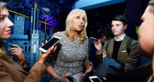Miriam O'Callaghan speaking to reporters when she launched the Laura Lynn Heroes ball which will take place on May 12th. Photograph: Cyril Byrne/The Irish Times