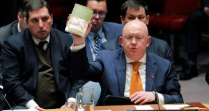 Russian ambassador to the United Nations Vasily Nebenzya quotes from 'Alice's Adventures in Wonderland' and 'Through the Looking Glass' as he speaks regarding a nerve agent attack in Salisbury, England. Photograph: Lucas Jackson/Reuters.