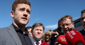 Ireland and Ulster rugby player Paddy Jackson speaking outside Belfast Crown Court after he was found not guilty of raping a woman at a property in south Belfast in June 2016. Photograph: Niall Carson/PA Wire