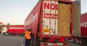 The arrival of a shipment of 2,500 tonnes of imported fodder from the UK at Rosslare, Co Wexford, on Thursday. Photograph: Nicola Reddy.