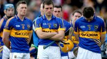 Shane McGrath and his disappointed Tipperary team-mates after the 2-17 to 0-20 league final defeat to Kilkenny at Nowlan Park  in 2013. Photograph: Ryan Byrne/Inpho