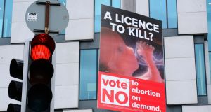 A poster urging a No vote in the upcoming referendum on the Eighth Amendment. Photograph: Cyril Byrne/The Irish Times