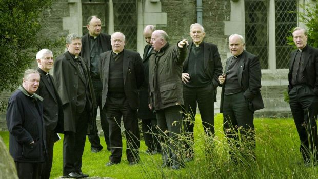 Catholic bishops at Maynooth in 2000, including (centre, pointing) Bishop John McAreavey, who resigned as Bishop of Dromore last month. Photograph: Matt Kavanagh