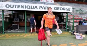 CJ Stander arrives for the Munster Rugby Captain's Run at Outeniqua Park on Friday. Photograph: Dan Sheridan/Inpho