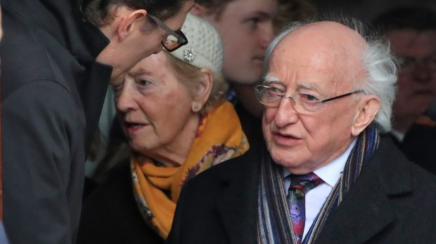 President Michael D Higgins offers his condolences to Paul Murray, son of Frank at the Church of Our Lady of Perpetual Succour, Foxrock. Photograph: Colin Keegan, Collins Dublin