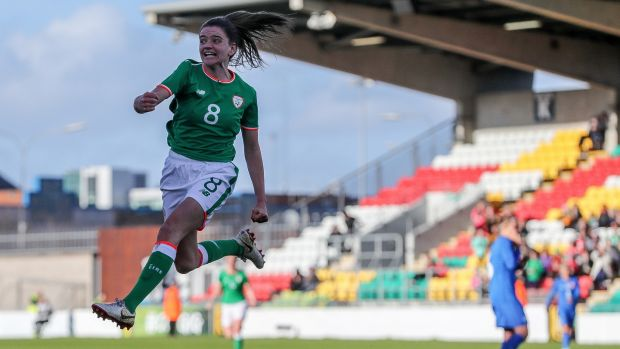 Ireland's Leanne Kiernan celebrates scoring the first goal in the FIFA 2019 Women's World Cup Qualifier against Slovakia at Tallaght Stadium. Photograph: Ryan Byrne/Inpho
