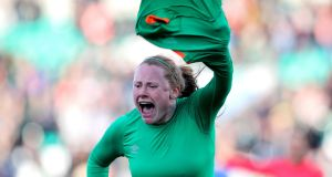 Ireland's Amber Barrett celebrates scoring the winning goal in the FIFA 2019 Women's World Cup Qualifier against Slovakia at Tallaght Stadium. Photograph: Ryan Byrne/Inpho