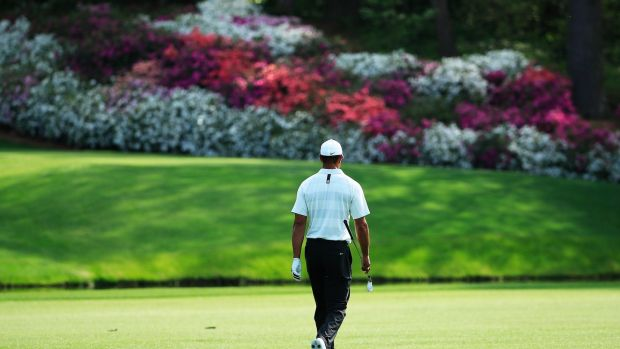 Woods walks to the drop zone at the 12th after finding the water for the second day running. Photo: Tannen Maury/EPA