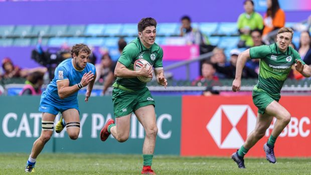 Jimmy O'Brien on the way to scoring one of Ireland's tries against Uruguay. Photograph: Power Sport Images/Getty