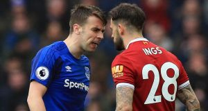 Seamus Coleman and Danny Ings during the goalless Merseyside derby. Photograph: Peter Byrne/PA