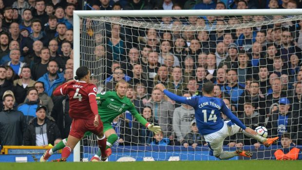 Cenk Tosun can't convert a late chance for Everton at Goodison Park. Photograph: Peter Powell/Reuters