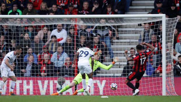Joshua King scores Bournemouth's equaliser against Crystal Palace. Photograph: Eddie Keogh/Reuters