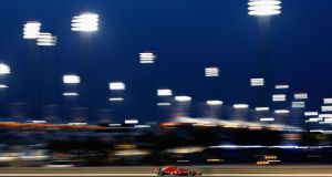 Ferrari's Sebastian Vettel  during qualifying for the Bahrain Formula One Grand Prix at Bahrain International Circuit. Photograph:  Lars Baron/Getty Images