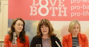 Caroline Simons (middle) speaks at a Pro Life Campaign event. On Saturday Simmons addressed a pro-life rally in Cork. File photograph: Alan Betson/The Irish Times
