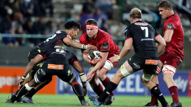 Munster's CJ Stander and Gerbrandt Grobler in action against Berton Klaasen, Andisa Ntsila and Martinus Burger of the Southern Kings during the Guinness Pro 14 game at Outeniqua Park in George, South Africa. Photograph: Dan Sheridan/Inpho