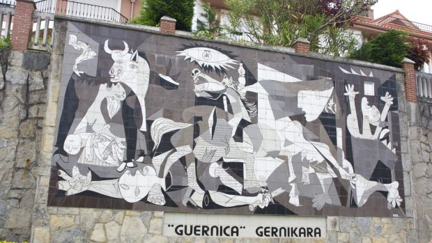 A Picasso mural, depicting the second World War bombing of the Spanish city of Guernica