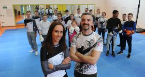 Joy Shaughnessy and Karl Flynn who run Kickboxing to Inspire and Challenge Kids in Tallaght. Photograph: Aidan Crawley