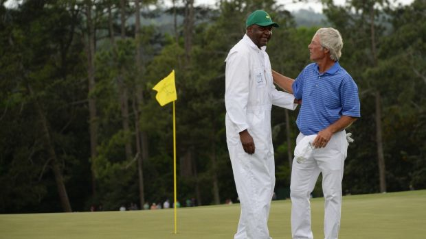 Carl Jackson, known as the green whisperer of Augusta, caddied for Ben Crenshaw in all 39 of his Masters appearances. Crenshaw won the tournament twice. Photograph: Getty Images