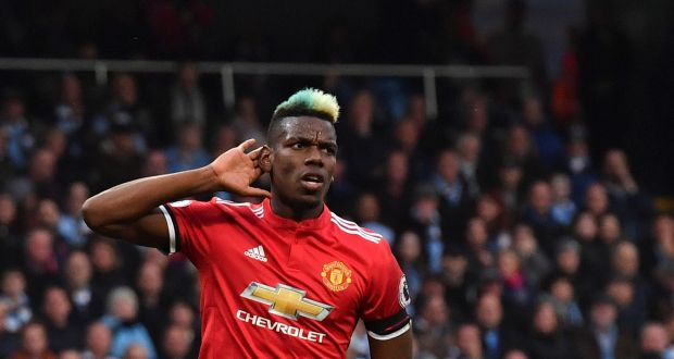 172615e75 Paul Pogba celebrates scoring Manchester United s equaliser against City.  Photograph  Ben Stansall AFP