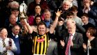 Kilkenny's Cillian Buckley lifts the league trophy at Nowlan Park. Photograph: Ryan Byrne/Inpho