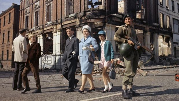 Northern Ireland Troubles: British soldiers on patrol in 1969. Photograph: Peter Kemp/AP Photo