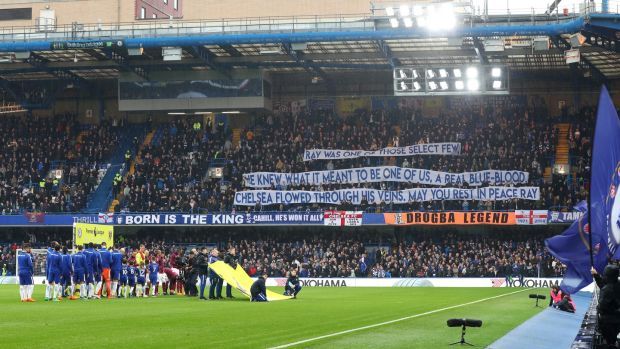 Chelsea fans pay tribute to Ray Wilkins ahead of their draw with West Ham. Photograph: Catherine Ivill/Getty