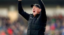 Kilkenny manager Brian Cody celebrates after his side score their second goal in their 2-23 to 2-16 Division 1A final victory over Tipperary at Nowlan Park. Photograph: James Crombie/Inpho